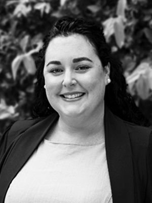 Black & white photo of Kellie Jukkola, Brand Protection Specialist